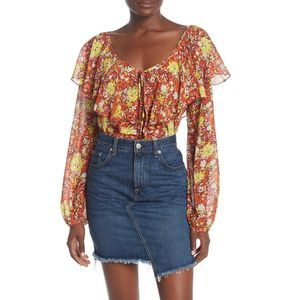 Free People Floral BodySuit Tie-Front Say it to Me